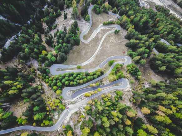 aerial view of mountain road